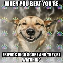 Stoner Dog - When you BEAT you're  friends high score and they're watching