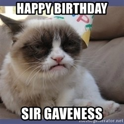 Birthday Grumpy Cat - Happy birthday  Sir Gaveness
