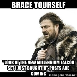 """Winter is Coming - Brace yourself """"Look at the new mIllennium falcon set i just bought!!!""""-posts are coming"""