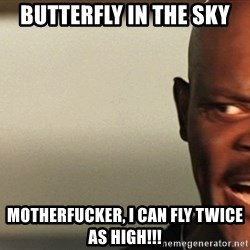 Snakes on a plane Samuel L Jackson - Butterfly in the sky Motherfucker, I can fly twice as high!!!