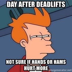 Futurama Fry - Day after deadlifts Not SURE if hands or hams hurt more