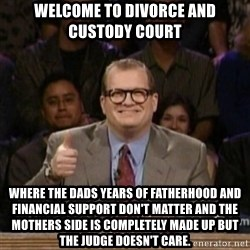 drew carey whose line is it anyway - Welcome to divorce and custody court Where the dads years of fatherhood and financial support don't matter and the mothers side is completely made up but the judge doesn't care.