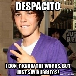 Justin Beiber - DEsPACITO I don´t know the words, but just say burritos!