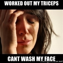crying girl sad - Worked out My triceps Cant wash my Face