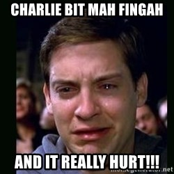crying peter parker - Charlie bit mah fingah And it really hurt!!!