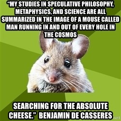 """Prospective Museum Professional Mouse - """"My studies in Speculative philosophy, metaphysics, and science are all summarized in the image of a mouse called man running in and out of every hole in the Cosmos  searching for the Absolute Cheese.""""  Benjamin de Casseres"""