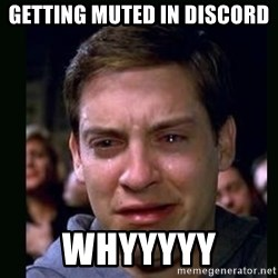 crying peter parker - getting muted in discord whyyyyy