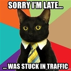 Business Cat - Sorry I'm late... ... was stuck in traffic