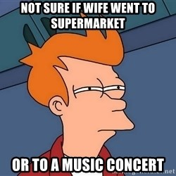 Futurama Fry - Not sure if wife went to supermarket Or to a music concert