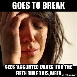 crying girl sad - Goes to break Sees 'assorted cakes' for the fifth time this week