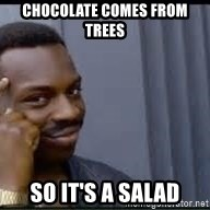 Pretty smart - chocolate comes from trees so it's a salad