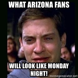 crying peter parker - what arizona fans will look like monday night!