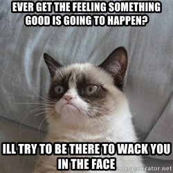 Grumpy cat good - Ever get the feeling something good is going to happeN? Ill try to be there to wack you in the face