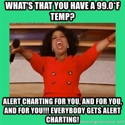 Oprah Car - What's that you have a 99.0*F Temp? Alert charting for you, and for you, and for you!!! Everybody gets Alert chartiNg!