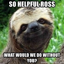 Sarcastic Sloth - so helpful ross what would we do without you?