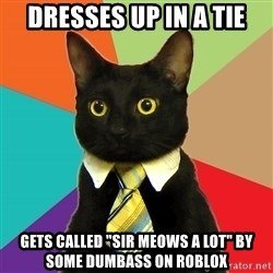 """Business Cat - Dresses up in a tie gets called """"sir meows a lot"""" by some dumbass on roblox"""