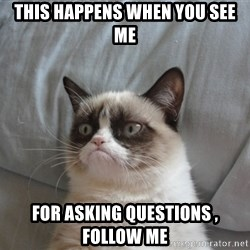 Grumpy cat good - THIS HAPPENS WHEN YOU SEE ME FOR ASKING QUESTIONS , FOLLOW ME