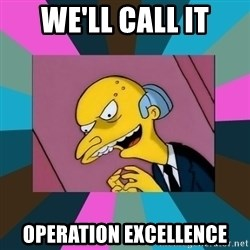 Mr. Burns - We'll call it operation excellence