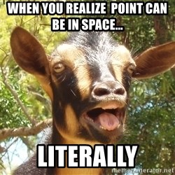 Illogical Goat - when you realize  point can be in space... Literally
