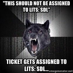 "Insanity Wolf - ""This should not be assigned to LITS: SDL"" Ticket gets assigned to LITS: SDL..."
