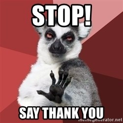 Chill Out Lemur - stop! say thank you