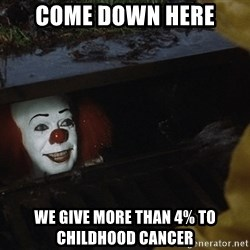 IT Clown Meme - come down here  we give more than 4% to childhood cancer