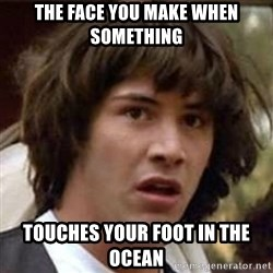 Conspiracy Keanu - the face you make when something touches your foot in the ocean