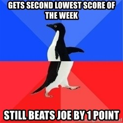 Socially Awkward to Awesome Penguin - Gets second lowest score of the week Still beats Joe by 1 point