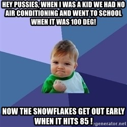 Success Kid - Hey Pussies, When I was a kid we had no AIR CONDITIONING and went to school when it was 100 deg! Now the snowflakes get out early when it hits 85 !