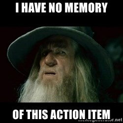 no memory gandalf - I HAVE NO MEMORY OF THIS ACTION ITEM