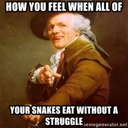 Joseph Ducreux - How you feel when all of your snakes eat without a struggle