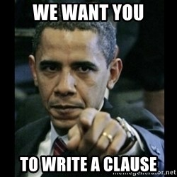 obama pointing - WE WANT YOU TO WRITE a clause