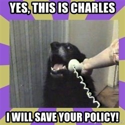 Yes, this is dog! - Yes, this is Charles i will save your policy!