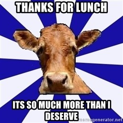 Low self esteem cow - tHANKS FOR LUNCH ITS SO MUCH MORE THAN I DESERVE