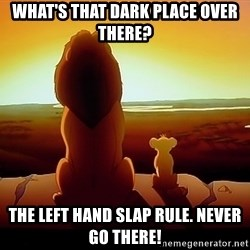 simba mufasa - what's that dark place over there? the left hand slap rule. never go there!