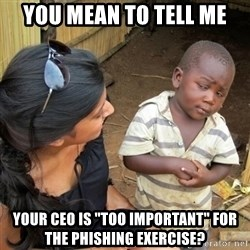 """you mean to tell me black kid - you mean to tell me your CEO is """"too important"""" for the phishing exercise?"""