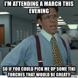 That would be great - i'm attending a march this evening so if you could pick me up some tiki torches that would be great!!