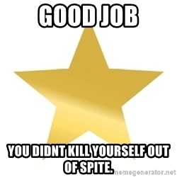Gold Star Jimmy - Good job You didnt kill yourself out of spite.