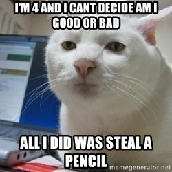 Serious Cat - I'm 4 and i cant decide am i good or bad all i did was steal a pencil