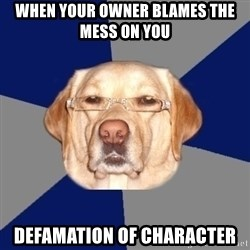 Racist Dog - When your owner blames the mess on you defamation of character