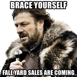 Brace yourself - BRACE yourself  Fall yard sales are coming