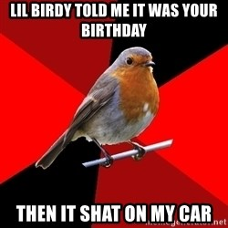 Retail Robin - Lil Birdy told me it was your Birthday Then it shat on my car
