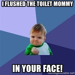 Success Kid - I FLUSHED the toilet mommy in your face!