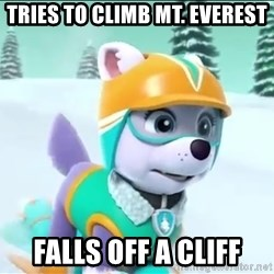 Bad Luck Everest  - Tries to climb mt. EveresT Falls off a cliff