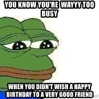 Sad Frog - You know you're  wayyy too busy when you didn't wish a happy birthday to a very good friend