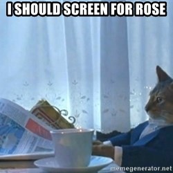 newspaper cat realization - I should screen for rose