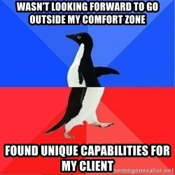 Socially Awkward to Awesome Penguin - wasn't looking forward to go outside my comfort zone found unique capabilities for my client