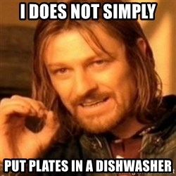ODN - I DOES NOT SIMPLY PUT PLATES IN A DISHWASHER