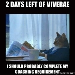 i should buy a boat cat - 2 days left of Viverae I should probably complete my coaching requirement