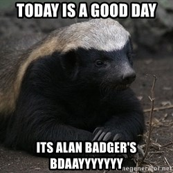 Honey Badger - today is a good day its alan badger's bdaayyyyyyy